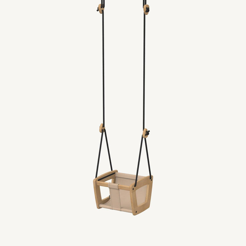 LILLAGUNGA Toddler and Baby Swing - Oak with Almond Dice Fabric Seat and Black Ropes, Swing, Lillagunga - All Mamas Children