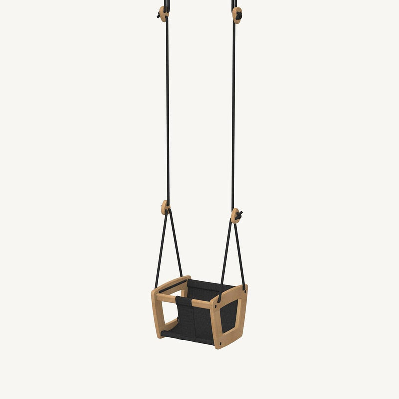 LILLAGUNGA Toddler and Baby Swing - Oak with Black Leather Seat and Black Ropes, Swing, Lillagunga - All Mamas Children