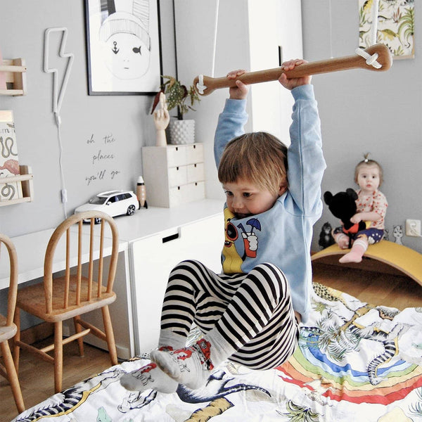 LILLAGUNGA Bone - Oak with Black Ropes, Swing, Lillagunga - All Mamas Children