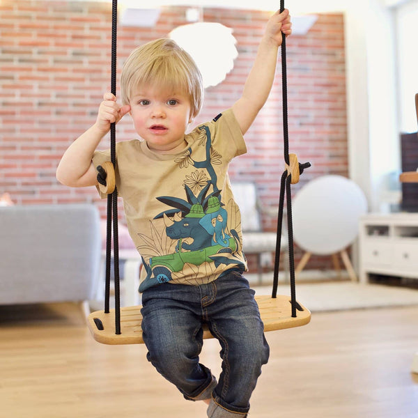 LILLAGUNGA Classic Swing - Oak with Green Ropes, Swing, Lillagunga - All Mamas Children