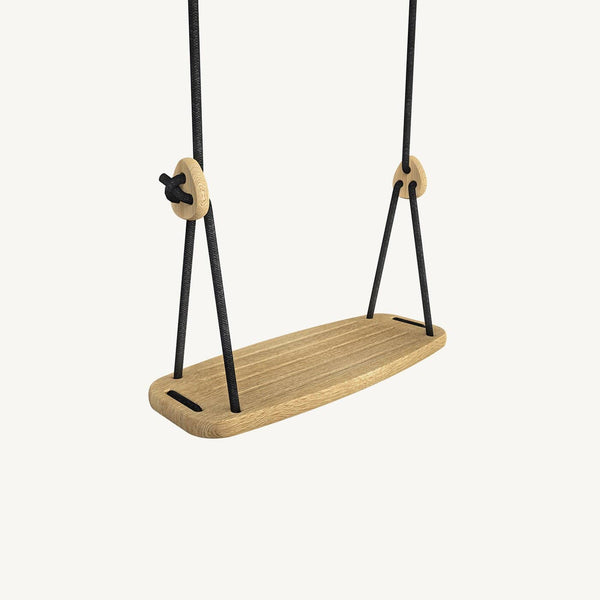 LILLAGUNGA Classic Swing - Oak with Black Ropes, Swing, Lillagunga - All Mamas Children