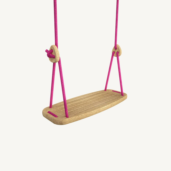 LILLAGUNGA Classic Swing - Oak with Fuchsia Ropes, Swing, Lillagunga - All Mamas Children