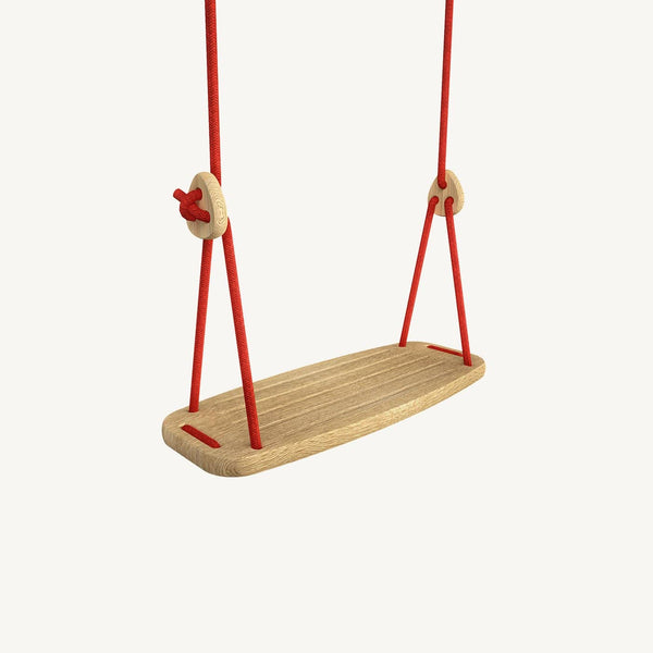 LILLAGUNGA Classic Swing - Oak with Red Ropes, Swing, Lillagunga - All Mamas Children