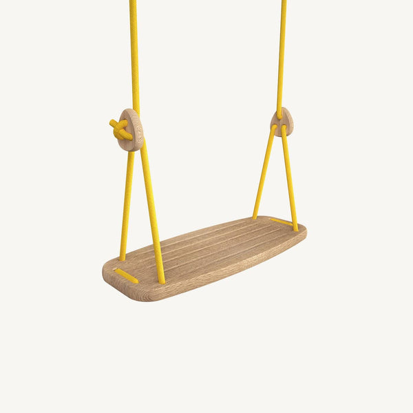 LILLAGUNGA Classic Swing - Oak with Yellow Ropes, Swing, Lillagunga - All Mamas Children