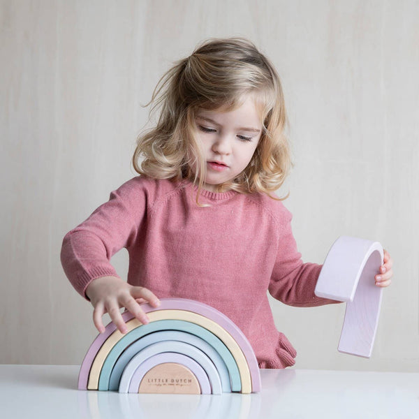 Little Dutch - Wooden Rainbow Stacker Pink, Stacking Toy, Little Dutch - All Mamas Children
