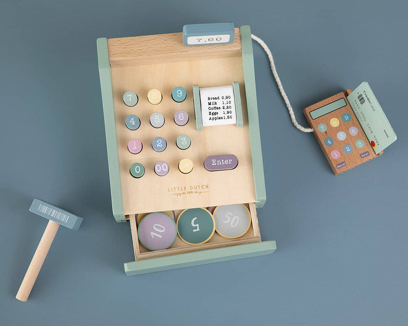 Little Dutch - Wooden Cash Register with Scanner in Mint, Pretend Play, Little Dutch - All Mamas Children