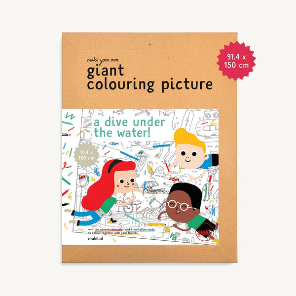 Makii Giant Colouring Picture - WATER 91.4 x 150 cm, Colouring Book, Makii - All Mamas Children