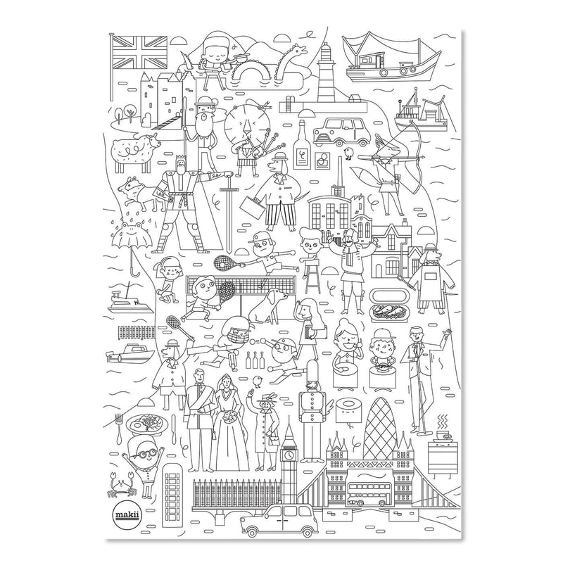 Makii Mega Colouring Picture - UNITED KINGDOM 48 x 69 cm, Colouring Book, Makii - All Mamas Children
