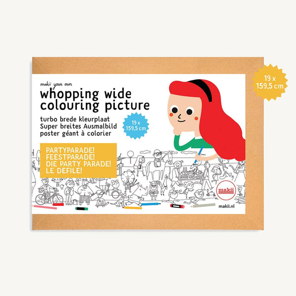 Makii Whopping Wide Colouring Picture - PARTY PARADE 19 x 159.9 cm, Colouring Book, Makii - All Mamas Children