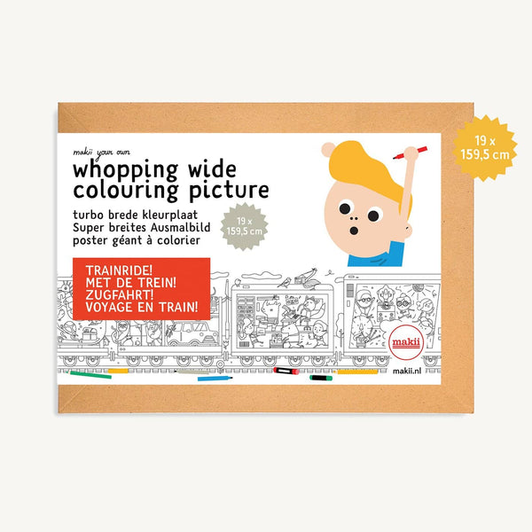 Makii Whopping Wide Colouring Picture - TRAIN RIDE 19 x 159.9 cm, Colouring Book, Makii - All Mamas Children