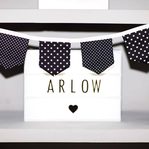 Monochrome Print Bunting - White On Black, Bunting, All Mama's Children - All Mamas Children