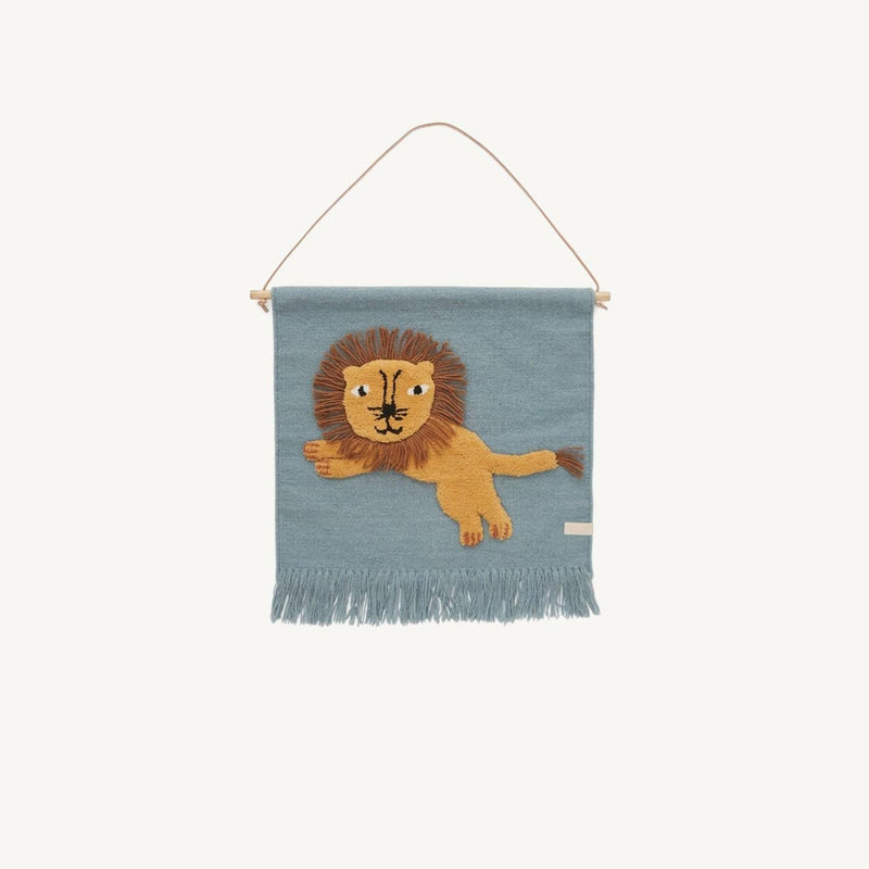 OYOY - Jumping Lion Wallhanger, Wall Rug, OYOY - All Mamas Children