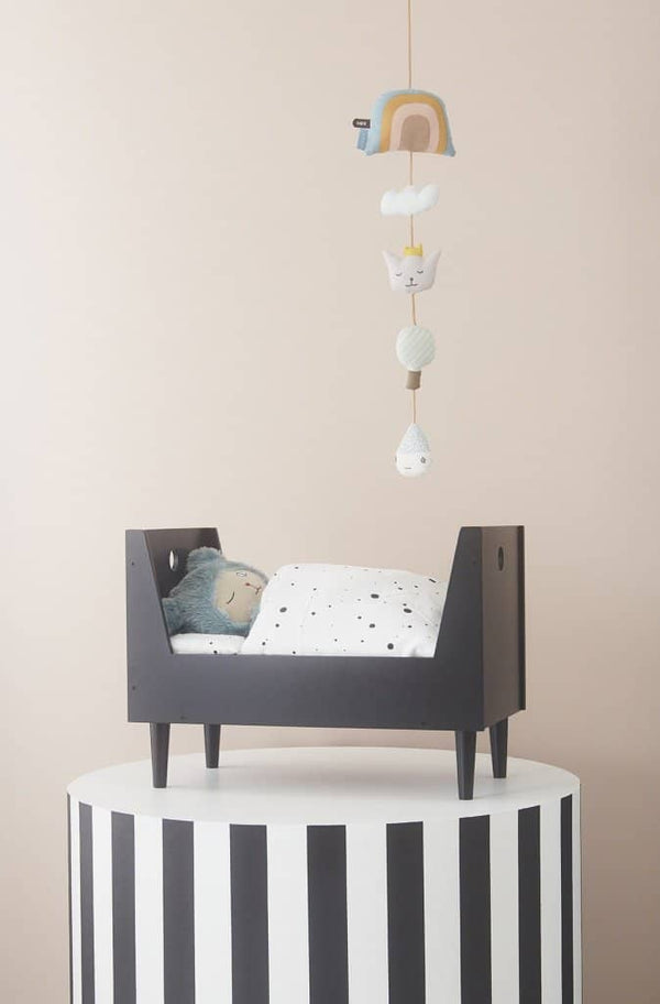 OYOY - Retro Dolls Bed With Quilted Mattress in Dark Grey, Dolls Bed, OYOY - All Mamas Children
