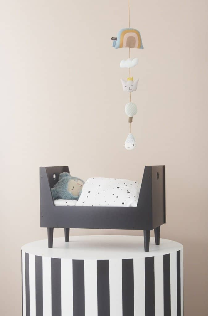 OYOY - Retro Dolls Bed With Quilted Mattress in Dark Grey - All Mamas Children