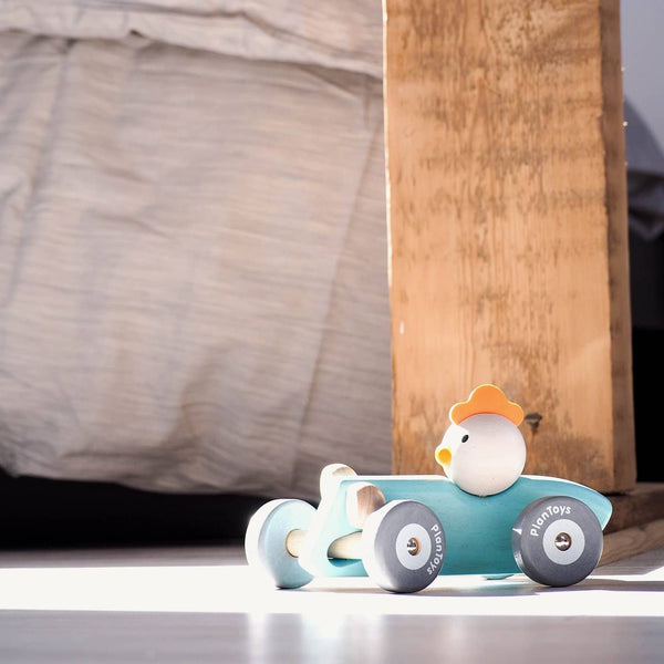 Plan Toys - Chicken Racing Car In Pastels, Car, Plan Toys - All Mamas Children