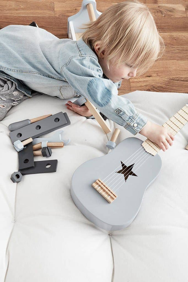 Star Grey Wooden Toy Guitar, Toy Instruments, Kids Concept - All Mamas Children