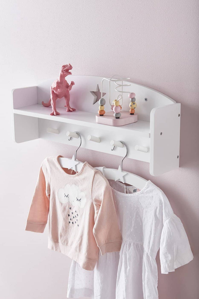 Star White Wooden Wall Shelf With Pegs, Shelf, Kids Concept - All Mamas Children