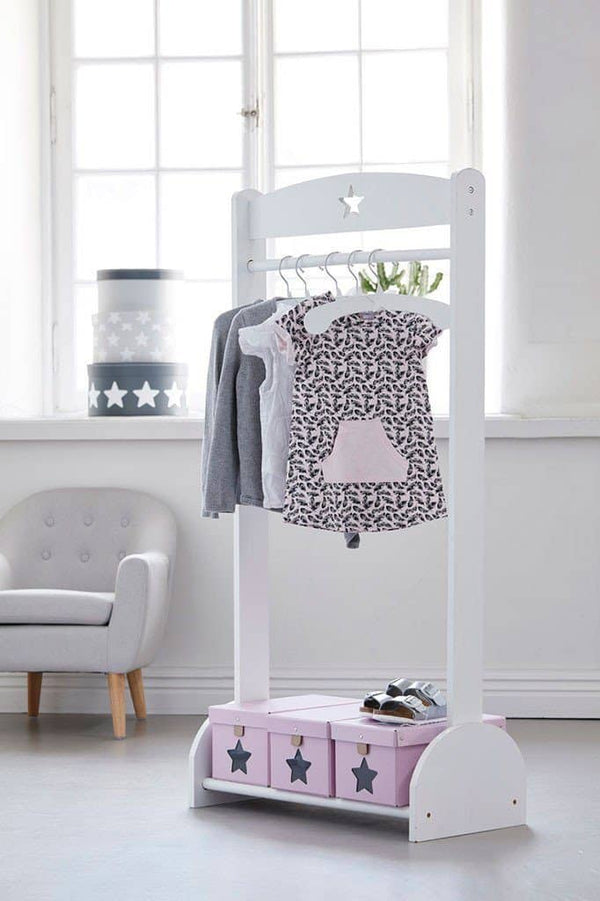 Kid's Concept - Star White Child's Clothing Rail And Shoe Rack, Clothing Rail, Kids Concept - All Mamas Children