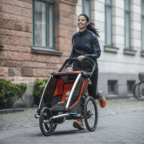 Convert your Thule child carrier into a high performance jogging stroller within seconds with the Thule Chariot Jogging Kit. Suitable for 2017 Thule Chariots.