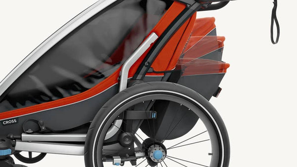 Thule Chariot Cross 2 Multi Sport Double Carrier with Bicycle Trailer Kit and Strolling kit - Roarange / Dark Shadow, Multisport and bike trailer, Thule - All Mamas Children