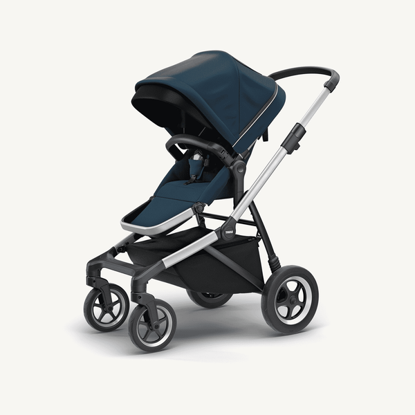 Thule Sleek Stroller and Bassinet + Rain Covers  in Navy Blue, Stroller, Thule - All Mamas Children