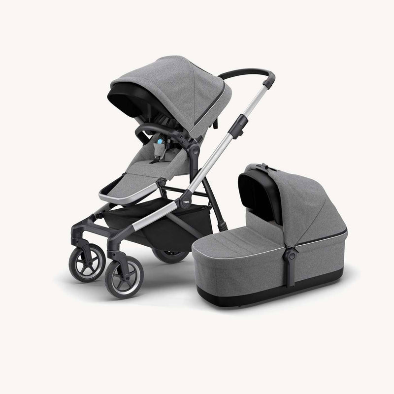 Thule Sleek Stroller and Bassinet + Rain Covers in Grey Melange, Stroller, Thule - All Mamas Children