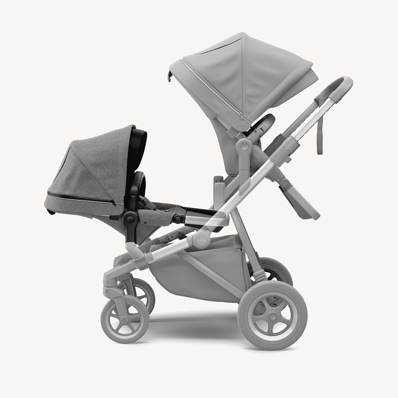 Thule Sleek Sibling Seat + Rain Cover  in Grey Melange, Stroller, Thule - All Mamas Children