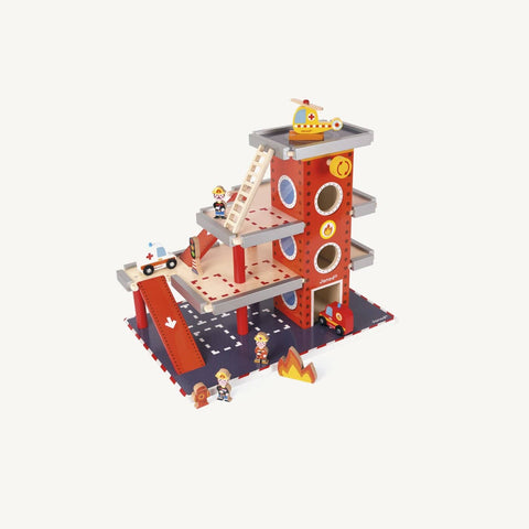 Large Wooden Fire Station Set, Wooden Toys, Janod - All Mamas Children