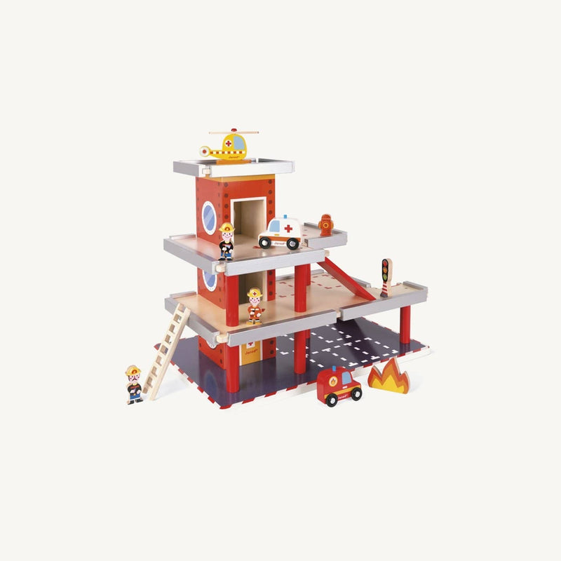 Large Wooden Fire Station Set, Play Set, Janod - All Mamas Children