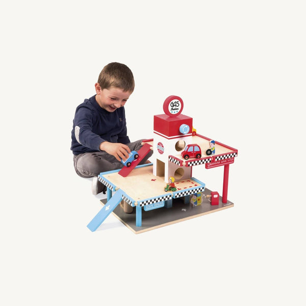 Janod - Large Wooden Gas Station Set - All Mamas Children