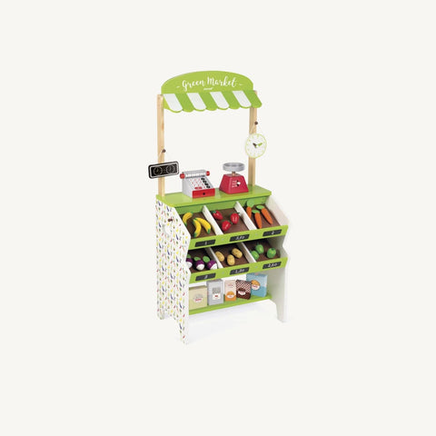 This beautiful wooden grocery stall by Janod comes packed with accessories to keep your budding little greengrocers busy. Complete with a range of food, chalkboard signage, weighing scales, cash register, clock and shopping bags, your little ones will have all the tools to run a busy market stall.