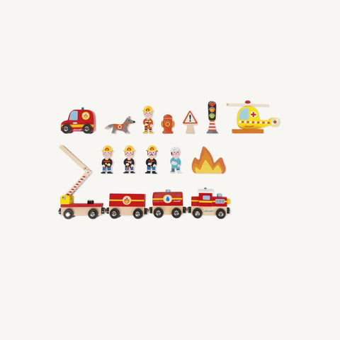 Story Express Firefighter Train Set, Play Set, Janod - All Mamas Children
