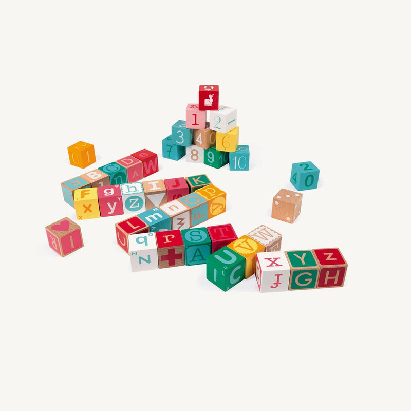 Janod Kubix 40 Letter and Number Blocks, Blocks, Janod - All Mamas Children