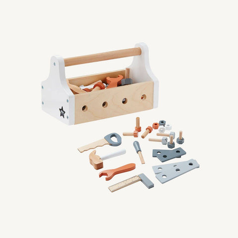 White and natural wood tool box and tools from kids concept