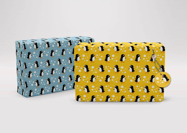 Penguins and Robins Recycled Children's Wrapping Paper & Tags, wrapping paper, The LittleGreen Wrapping Company - All Mamas Children