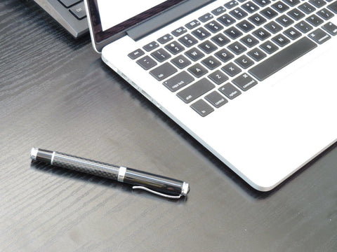 Deluxe Real Genuine Carbon Fiber Steel Black Ink Ball Pen - Pinalloy