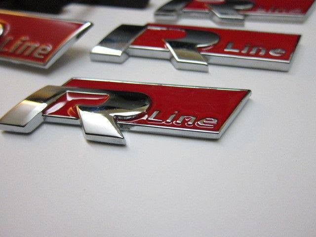 new red 4 r line metal grill emblem 3d lettering for vw. Black Bedroom Furniture Sets. Home Design Ideas