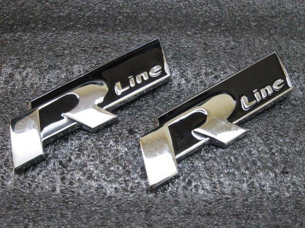 New Black 4 R Line Metal Grill Emblem 3D lettering for VW Golf GTI Scirocco Polo - Pinalloy