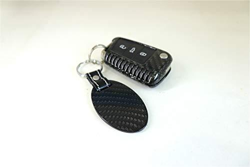 Pinalloy Real Carbon Fiber Key Chain Key Fob with Stitched Leather (Style C)