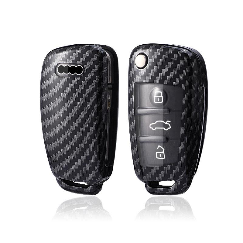 ABS Made Carbon Fiber Pattern Key Cover Case Skin Shell for A3 A4 TT Flip Key Models