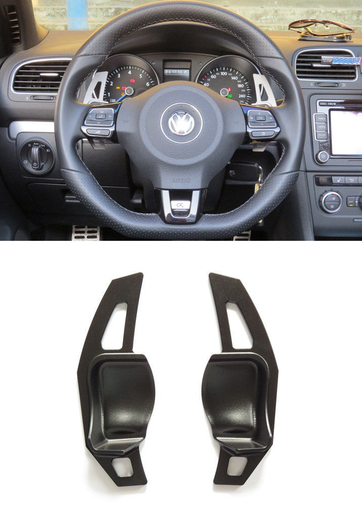Matted Black Alloy DSG Paddle Shifter Extension Steering Wheel VW Golf Scirocco MK5 6 / SEAT Leon - Pinalloy