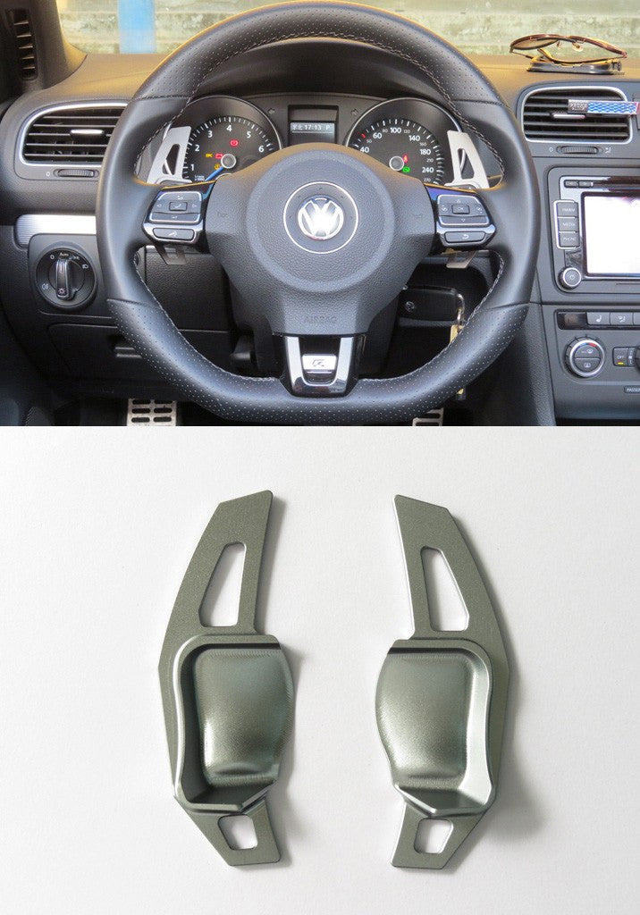 Matted Gery Alloy DSG Paddle Shifter Extension Steering Wheel VW Golf Scirocco MK5 6 / SEAT Leon - Pinalloy