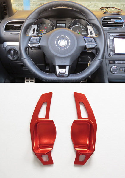 Matted Red Alloy DSG Paddle Shifter Extension Steering Wheel VW Golf Scirocco MK5 6 / SEAT Leon - Pinalloy Online Auto Accessories Lightweight Car Kit