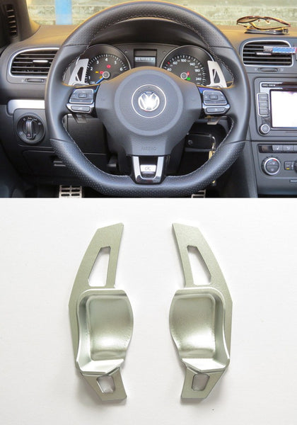 Matted Silver Alloy DSG Paddle Shifter Extension Steering Wheel VW Golf Scirocco MK5 6 / SEAT Leon - Pinalloy