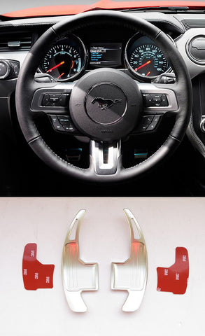 Pinalloy Silver Metal Steering Paddle Shifter Extension for Ford Mustang 2015-17 (version 1)