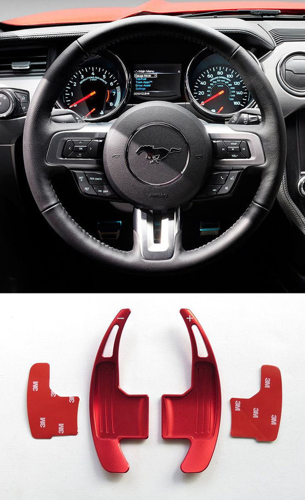Pinalloy Red Metal Steering Paddle Shifter Extension for Ford Mustang 2015-17 (version 1) - Pinalloy Online Auto Accessories Lightweight Car Kit