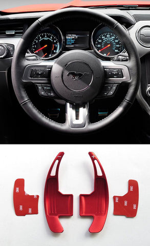 Pinalloy Red Metal Steering Paddle Shifter Extension for Ford Mustang 2015-17 (version 1)