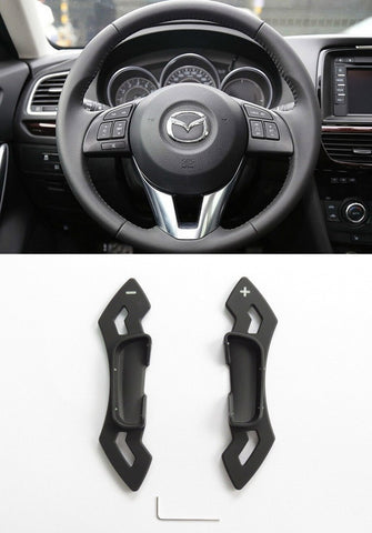 Matted Black CNC Alloy Steering Wheel Shift Paddle Shifter Extension Mazda3 6 CX-5 Atenza CP0016-BK
