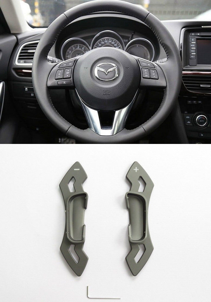 Matted Grey CNC Alloy Steering Wheel Shift Paddle Shifter Extension Mazda3 6 CX-5 Atenza CP0016-GY - Pinalloy Online Auto Accessories Lightweight Car Kit