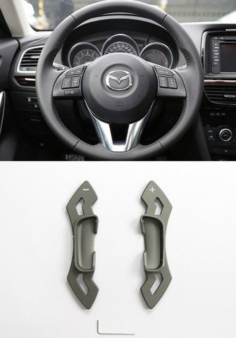Matted Grey CNC Alloy Steering Wheel Shift Paddle Shifter Extension Mazda3 6 CX-5 Atenza CP0016-GY